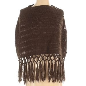 Bandolino Fringed Thick Poncho Brown Small Medium